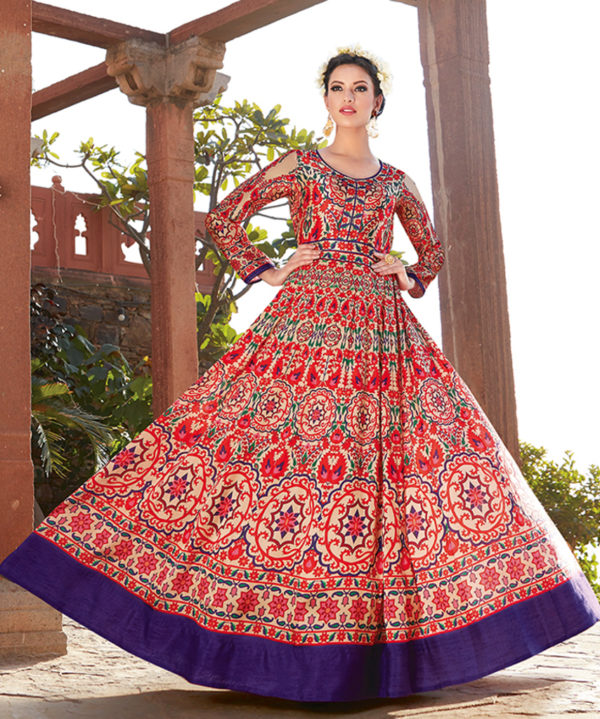 Red Colored Satin printed Suits